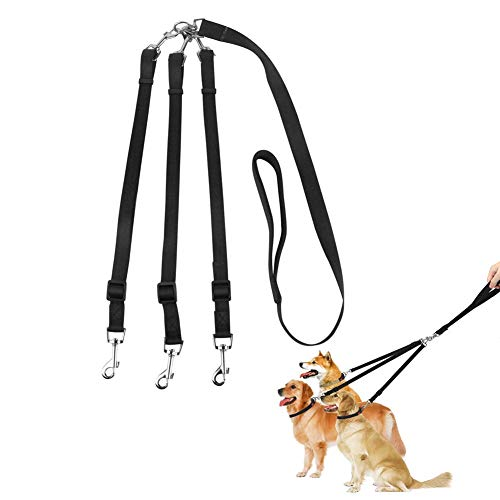 BIJGZ Home 3 in 1 Hundeleinen Multi Haustier führt 3-Wege-Hundeleine Splitter Pet Triple Blei Koppler Einstellbare abnehmbare Nylon-Zugseil für EIN/Zwei/DREI Hundekatzen Pet Walking -