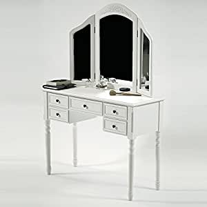 lounge-zone Frisiertisch Kosmetiktisch Schminktisch PRETORIA II weiß 3 Spiegel 5 Schubladen 1053