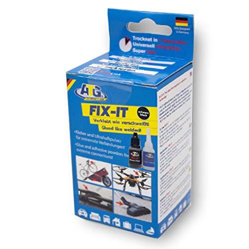 ATG FIX-IT -Transparent - Sekundenkleber Extra Stark Mit Granulat - Industriekleberset für Kunststoff Plastik Metall Holz - Schwarzes Granulat -
