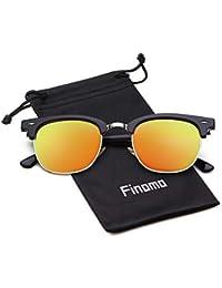 2bd81f7712104 Finomo Demi lunettes de soleil polarisées lunettes de marque miroir pour  hommes femmes