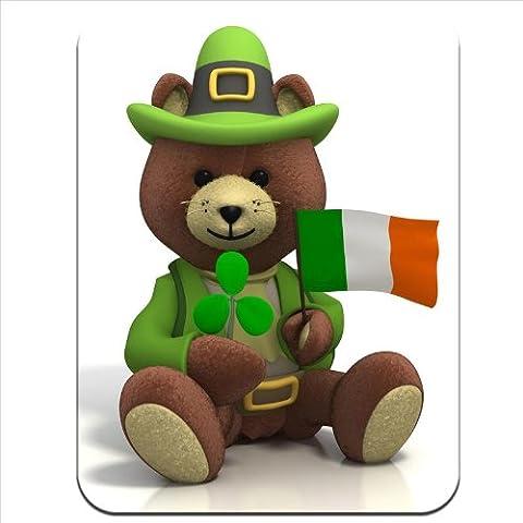 St Patricks Day Ours-Drapeau irlandais &trèfle Tapis de souris en caoutchouc épais et confortable