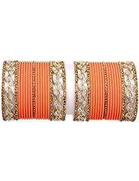 Bollywood Gold Zircon Peach Color Plain Bangle Set For Women & Girl Party & Wedding Bangle Set Pair