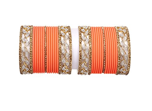 Bollywood Gold Latken Peach color plain bangle set for women & girl party & Wedding bangle set pair (2.8)