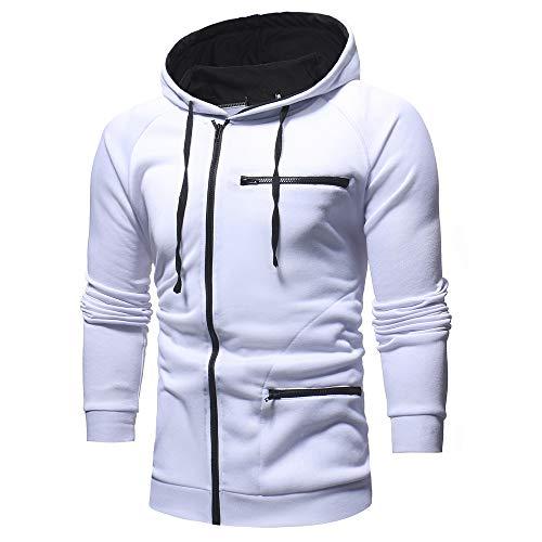 SEWORLD Herren Herbst Winter Sport Charm Herren Casual Solides Retro Langarm Kapuzenpullover Windbreaker Oberteile Jacke Mantel Outwear(X-a-weiß,EU-48/CN-XL)