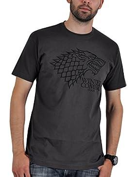 Game of Thrones House Stark Wappen Schattenwolf Winter is Coming T-Shirt grau Lied von Eis und Feuer