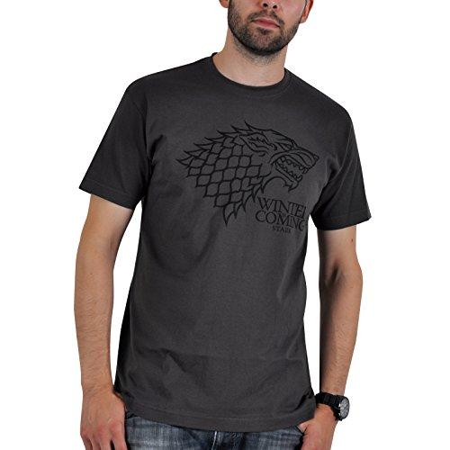 Game of Thrones House Stark Wappen Schattenwolf Winter is Coming T-Shirt grau Lied von Eis und Feuer - XXL