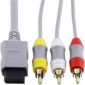 AV composite câble Cordon video & audio 3-RCA 6 FT Pour Nintendo Wii TV/moniteur