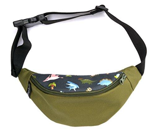 Wasserabweisende Bauchtaschen für Kinder - Jungen und Mädchen. Verschiedene Motive und Farben. Extra Innentasche für sicheres Verstauen von Schlüssel und Geld (dino grün) (Kinder Geld Sicher)