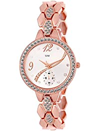 SVM KL-215~ Rose Gold Analog Diamond Studded Rose Gold Chain Watch