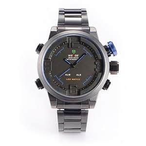 Gun Black Stainless Mens Boys Digital LED Alarm Stopwatch Sport Quartz Watch + Gift Box