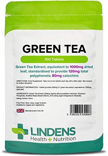 Lindens Té verde 1000 mg en comprimidos | 100 Paquete | Extracto de té verde, equivalente a 1000 mg de hojas secas, estandarizado para proporcionar 120 mg de polifenoles totales; 80mg de catequinas