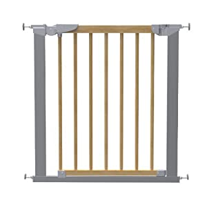BabyDan Avantgarde True Pressure Fit Safety Gate (Beech/Silver)  World innovation retractable safety gate in white PVC free plastic to fit openings from 55 - 89cm Auto Foldable - Automatically folds back when opened and fitted inside a door frame: 64.5 - 89 cm and fitted outside a door frame of  55 - 79.5 cm Safety gate for narrow to wide openings or where a conventional gate will not fit 10