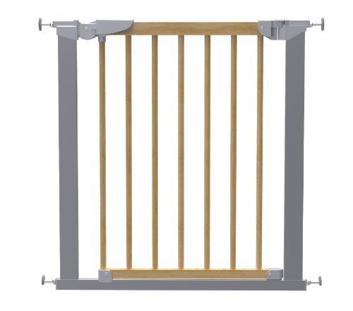 BabyDan Avantgarde True Pressure Fit-Barrera de seguridad (madera de haya/plata)