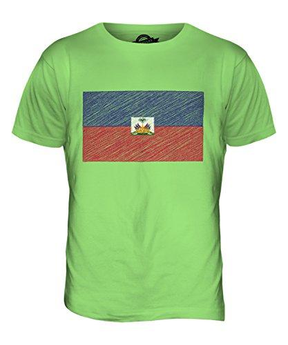 CandyMix Haiti Kritzelte Flagge Herren T Shirt Limettengrün