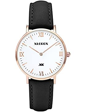XLORDX Damen Herren Quarz Armbanduhr Minimalistic Modisch Zeitloses Design Klassisch Schwarz Leder 38mm
