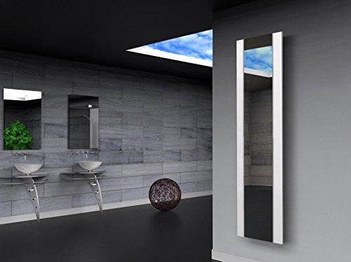 Badheizkörper Design Singapur 3, HxB: 180 x 47 cm, 1118 Watt, weiß / Spiegel (Marke: Szagato) Made in Germany / Top-verarbeiteter Bad und Wohnraum-Heizkörper (Mittelanschluss Spiegelglas, Echtglas)