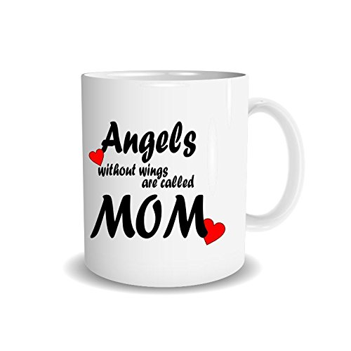 van Hoogen Kaffee-Tasse Angels Without Wings Are Called mom + Spruch Motiv beidseitig | Geschenk Muttertag + Mutter Mama | Kaffee-Becher Mug Lieblingstasse