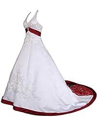 Romantic-Fashion Brautkleid Hochzeitskleid Weiß/Bordeaux Modell W085 A-Linie Satin Stickerei Zweifarbig DE