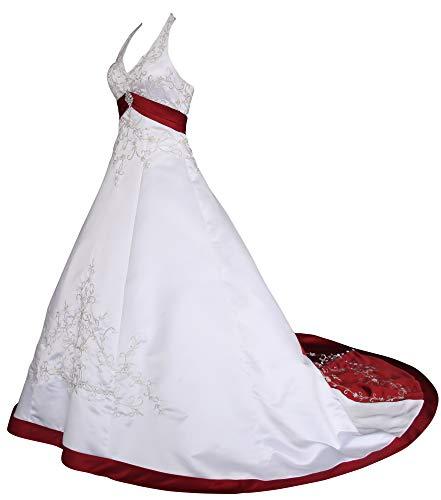 Romantic-Fashion Brautkleid Hochzeitskleid Weiß/Bordeaux Modell W085 A-Linie Satin Stickerei...