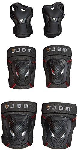 Jbm adulto BMX Bike ginocchiere, gomitiere per polsi protettiva Gear set per ciclismo, equitazione, ciclismo e multi sport, monopattino, skateboard, bicicletta, roller, Black