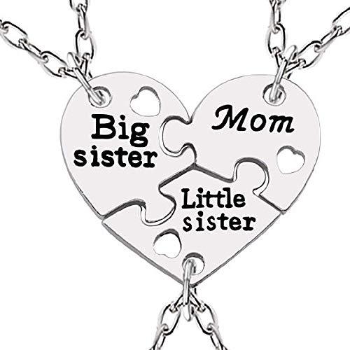 Drei Ketten Frauen - Herzkette Damen Halsketten - Freundschaft - Beste Freunde - Best Friend - Big Sister - Little sister - Puzzle - Herz - Herzchen - Große schwester x 3 - Bff - Mutter - Mama