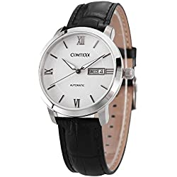 Comtex Men's Automatic Watch with White Dial and Black Leather Strap Day and Date Display