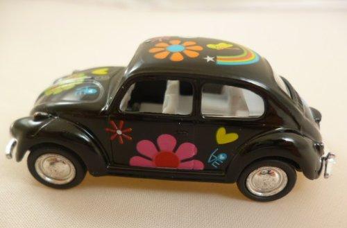 KANDY TOYS Noir Volkswagen Beetle classique avec Hippy impression (1967) Die Cast métal 1: 64 (HL128)