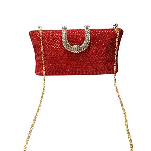 Sacchetto di diamanti anello fibbia moda Yingzunew con singolo Crossbody bag ladies catena borsa da sera (Blu) rosso