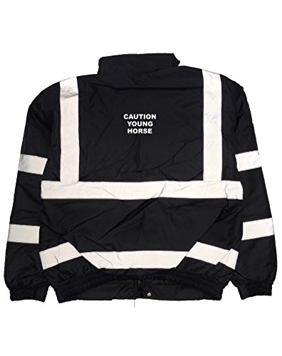 Print Wear Clothing Warnbare Bomberjacke mit Aufdruck Caution Young Horse Gr. XXXL, Marineblau/weiß