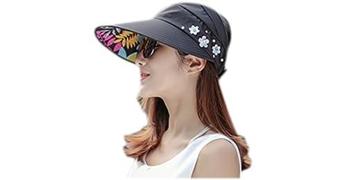 b0e72282b30 Kentop Summer Foldable Hat Sun Hat Women Foldable Sun Hats Wide Brim Summer  Sun Hat Beach Summer Sun Hat (Black)