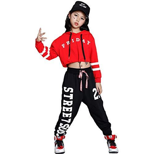 LOLANTA Mädchen Mordern Jazz Dance Outfit Kinder Street Dancewear Hoodies Pop Dance Kostüm (146/152, rot)