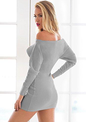 Lookbook Store® Damen Beige/Graues Langärmliges Körperbetontes Kleid mit Drapierter Schulter Zwei Farben Grau