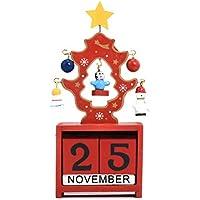 BESTOYARD Weihnachten Kalender Holz Ewiger Countdown Adventskalender für Zuhause Büro Dekoration (Rot)