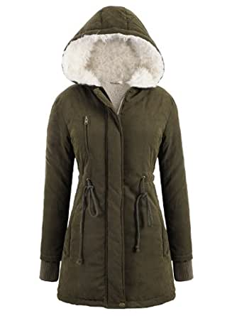 Damen Winter Herbst Jacke Mantel Parka Kapuzen Fleecejacket Trenchcoat Gr.34-46 (40/XL, Grün)