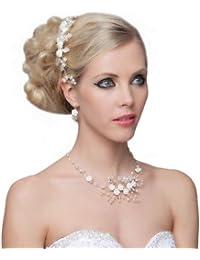 SEXYHER Atemberaubende Flowers Set Of Pearls Halskette & Ohrringe - SH-HM-G085