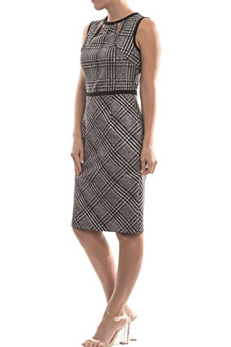 Joseph Ribkoff Sleeveless Plaid Print Sheath Dress Style 174794