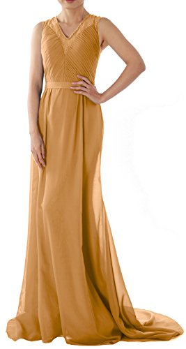 MACloth Women Straps V Neck Lace Chiffon Long Evening Formal Gown Prom Dress Gold