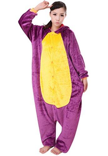 Onesie Flannell Cosplay Kostüm Dinosaurier Cartoon Tier Hauszug für Weihnachten Ostern Hallowee Karneval Winter Sleepwear-Rosa-XL (Dinosaurier Kostüme Für Frauen)