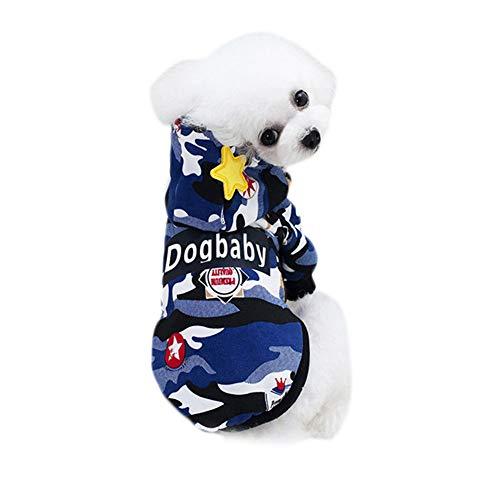 Wimagic Hunde-Sweatshirt, modisch, Camouflage-Muster, Baumwolle, für den Außenbereich, für Welpen und Hunde, Baumwolle, blau, XL 35 * 32 * 47cm Xl Hund Sweatshirts