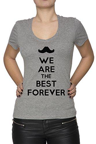 We Are The Best Forever Donna V-Collo T-shirt Grigio Cotone Maniche Corte Grey Women's V-neck T-shirt