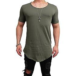 Deep Shirt * OVERSIZE STYLE * Longshirt langes basic Long Swag Herren Sweatshirt NEU Sweat Jacke Pullover Longsleeve m Kapuzenpullover Sweatjacke Pulli tee t (XL, KHAKI² - DEEP)