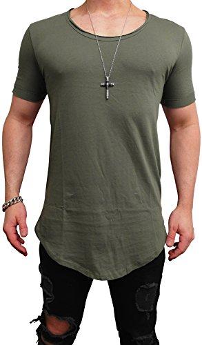 Deep Shirt Basic Oversize Tee Longshirt Long Hoody Sommer Herren Sweatshirt NEU Sweater Pullover langes Longsleeve m Kapuzenpullover Langarm Jeans Sweat-Jacke Tank-top Pulli (M, Khaki - deep²)