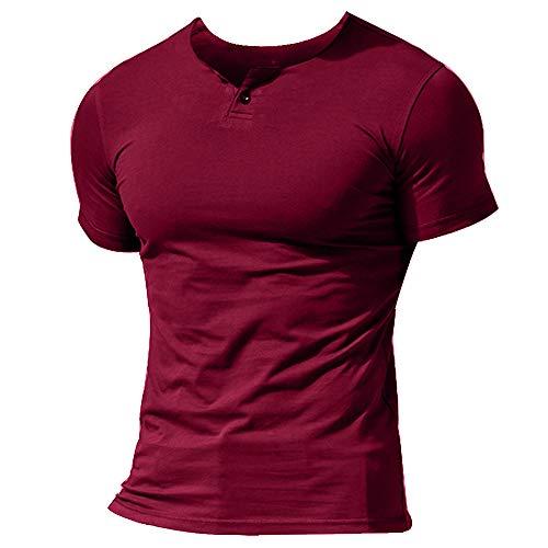 Musclealive Herren-T-Shirt, kurzärmelig, mit Knopfleiste, einfarbig, V-Ausschnitt, Baumwolle Gr.  (Brust 100/ 110 cm)M, Style a Wine Red