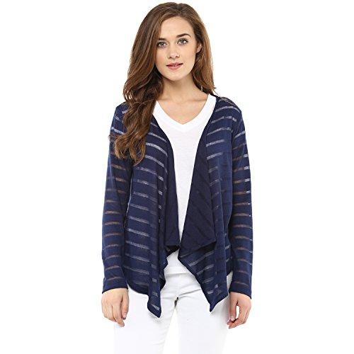 Femella Fashion's Navy Stripe Waterfall Cape