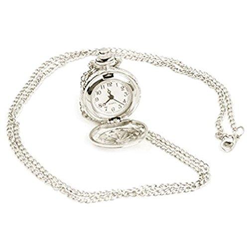 REFURBISHHOUSE Versilbert Umhaengeuhr Kettenuhr Quarzuhr Uhr als Halskette Taschenuhr