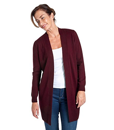 WoolOvers Womens Cashmere and Merino Edge To Edge Long Knitted Cardigan  Plum 586e6c1cf