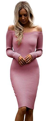 EOZY Femme Robe Mini Épaule Nue Manche Longue Slim Tendance Pull Rouge
