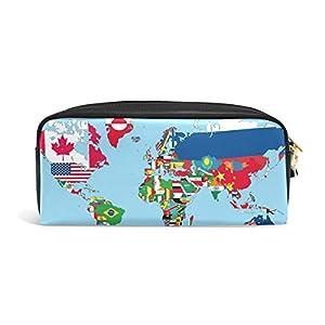 coosun la Mapa del Mundo con banderas de todos los países y sus portátil de PU piel estuche lápiz escuela bolsillos estacionario Pouch Caso Gran Capacidad De Maquillaje Neceser