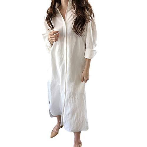 OIKAY Damen V-Ausschnitt Blusenkleid Hemdkleid Wickelkleider Shirtkleid Langarm Fashion Damen Sexy Solid Langarm Easy Button Revers Bluse Kleid