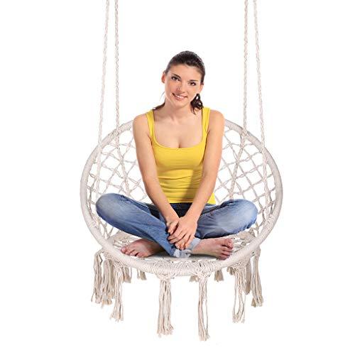 ENKEEO Hängesessel Hängestuhl 100% Baumwolle Hängesitz mit Fransen Böhmische Hängeschaukel bis 130 kg belastbar, 80 x 60 x 115 cm, Weiß